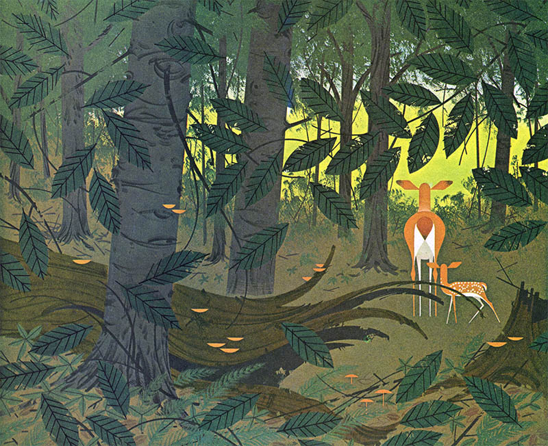 Bambi Woods | Creatures Wild and Tame | Charley Harper Prints | For Sale