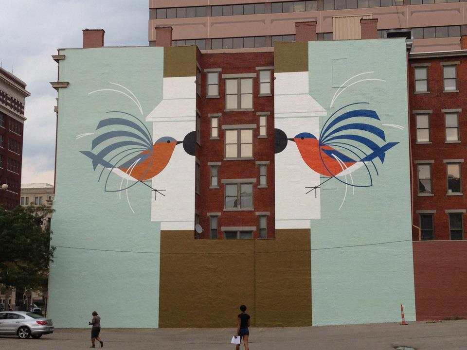 A cincinnati tribute mural for charley harper the for Charley harper mural