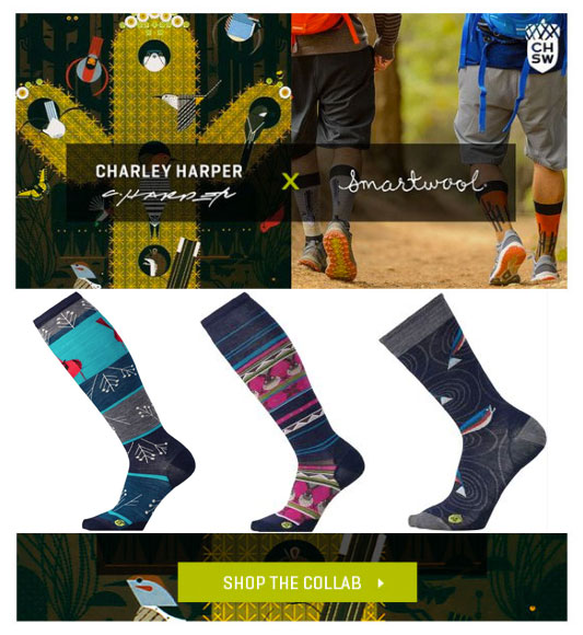 High performance socks by Smartwool featuring artwork by Charley Harper